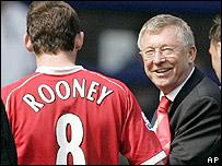 Rooney y Alex Ferguson.