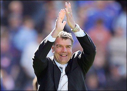 Allardyce celebrates after Bolton secure a Uefa Cup place in 2005