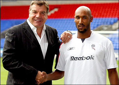 Sam Allardyce with Nicolas Anelka