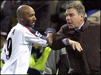 Sam Allardyce (right) and Nicolas Anelka