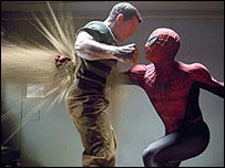 Thomas Haden Church and Tobey Maguire in Spider-Man 3