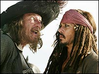Geoffrey Rush and Johnny Depp in Pirates of the Caribbean: At World's End