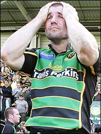 Northampton's England wing Ben Cohen shows the pain of relegation