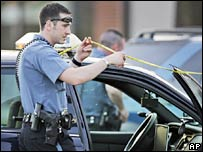 US police at the scene of the shooting in Kansas City