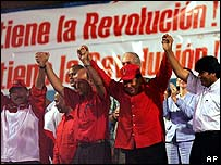 Daniel Ortega, Carlos Lage, Hugo Ch�vez y Evo Morales