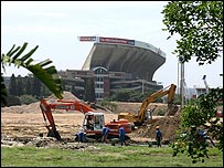 Construction workers near the King Senzangakhona stadium in Durban, South Africa