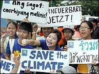 Protesters gather outside the climate change conference in Bangkok - 30 April 2007