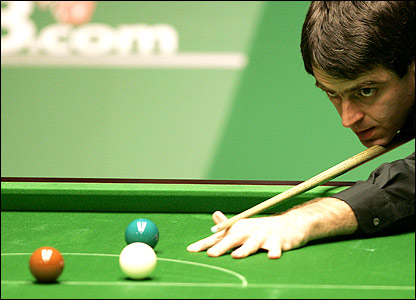 Ronnie O'Sullivan at the table in Sheffield