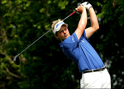 Luke Donald tees off on the 15th of the Byron Nelson Championship in Texas