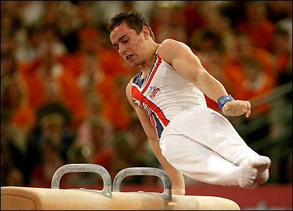 Daniel Keatings of Great Britain on the pommel horse at the European Artistic Gymnastics individual championship in Amsterdam