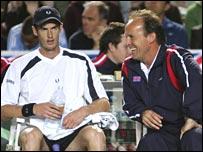GB coach John Lloyd (r) with Andy Murray