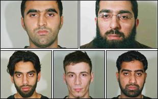 The five men convicted (clockwise: Omar Khyam, Salahuddin Amin, Waheed Mahmood, Anthony Garcia and Jawad Akbar)