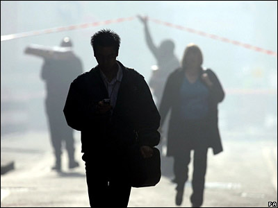 Office workers in the smoke