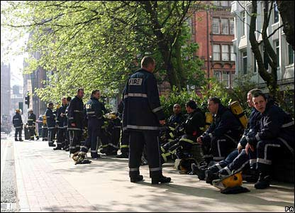 Firefighters taking a break