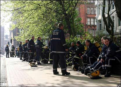 Firefighters taking a break