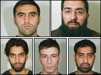 The five men convicted (clockwise: Omar Khyam, Salahuddin Amin, Waheed Mahmood, Anthony Garcia and Jawad Akbar). Nabeel Hussain and Shujah Mahmood were found not guilty.