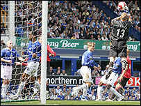 Everton keeper Iain Turner's dropped cross allowed Michael Carrick to pull a goal back for Man Utd and kickstart their comeback from 2-0 down
