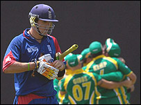 Kevin Pietersen leaves the field after being dismissed against South Africa in England's fateful World Cup defeat