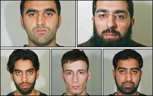 The five convicted men (clockwise Omar Khyam, Salahuddin Amin, Waheed Mahmood, Anthony Garcia and Jawad Akbar)