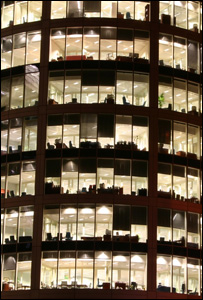 Office block at night (Image: BBC)