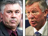 AC Milan coach Carlo Ancelotti (left) and Manchester United boss Sir Alex Ferguson