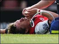 Jamie Forrester was injured in Gloucester's win over Bristol.