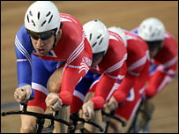 Bradley Wiggins leads the men's pursuit quartet to world gold