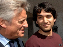Nabeel Hussain with his barrister Michael Mansfield QC