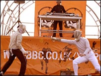James Williams gives a fencing demonstration