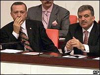 Turkey's Recep Tayyip Erdogan and Abdullah Gul