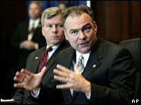 Virginia Governor Timothy M. Kaine (right) gestures as he and Attorney General Bob McDonnell speak during a press conference in Richmond