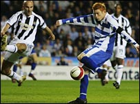 Dave Kitson (right) smashes home Reading's winner