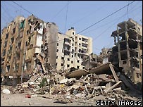 Bomb damage to south Beirut, Lebanon