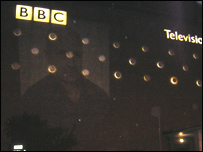 Image of Alan Johnston projected on to the outside of BBC Television Centre