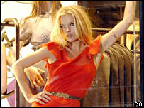 Kate Moss in Topshop store window