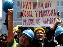 Peruvian miners protest in Lima - 30/04/2007