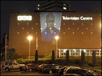Image of kidnapped BBC journalist Alan Johnston projected onto BBC TV Centre