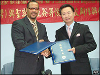St Lucia's foreign minister Rufus Bousquet (left) with his Taiwanese counterpart James Huang after signing a diplomatic deal - 30 April 2007