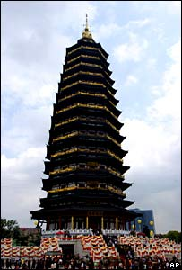 The tip of the Tianning Pagoda in China