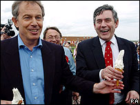 Tony Blair and Gordon Brown during the 2005 general election