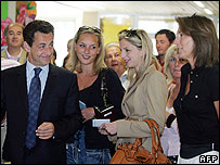 Nicolas Sarkozy, his stepdaughters and Cecilia (far right) on election day