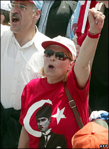 People shout slogans during a May Day rally in Istanbul, Turkey