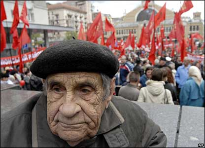 A Communist party veteran, Pavel Bobak, 94, takes part in a May Day demonstration in central Kiev, Ukraine.
