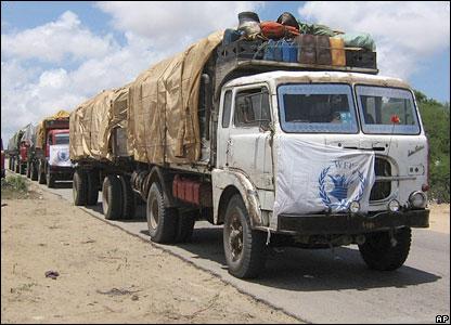 WFP aid trucks