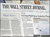 Front page of the Wall Street Journal