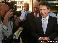 Lord Browne, leaving BP's headquarter after his resignation