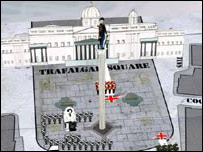 "Trafalgar Square being ""attacked"" by platoon"