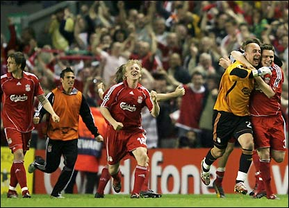 The celebrations get under way at Anfield