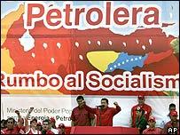 Hugo Chávez en el complejo petrolífero José Antonio Anzoátegui