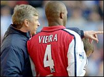 Arsene Wenger and former Gunners' skipper Patrick Vieira